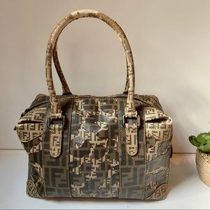 Fendi Camo zucca bowler doctor hand bag brown tan